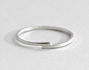 Sterling Silver Bypass Ring, Silver Stacking Ring, Sterling Crossover Ring, Offset Band, Recycled Overlap Ring, 1mm Dainty Ring, Felicity