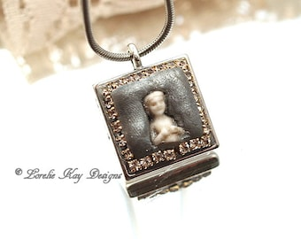 Tiny Charlotte Doll Necklace Petite Danity Pendant OOAK Statement Necklace Mixed Necklace Lorelie Kay Original