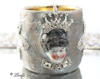 Queen Candle Holder/Vase Shabby Art Doll Mixed Media Assemblage Art Doll