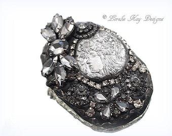 Soldered Rhinestone Brooch Art Nouveau Women Head  Pin One-of-a-Kind Mixed Media Broach