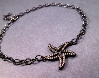 Starfish Anklet, White Glass Rhinestone Pave Star Fish, Gunmetal Silver Chain Anklet, FREE Shipping U.S.
