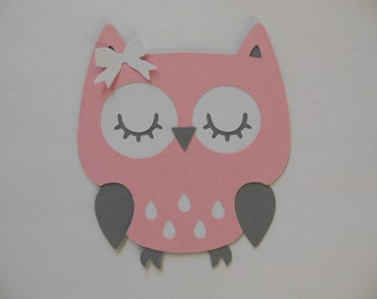 Owl Cutout - Pink, White and Gray - Girl Birthday Party Decoration - Girl Baby Shower Decorations - Set of 1