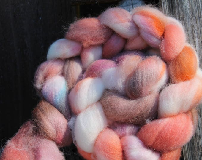 Kettle Dyed Falkland Wool Top.  Soft and easy to spin. 4oz  Braid. Spin. Felt. Roving. F161