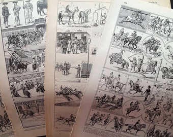 Horses,Cavalry,Horseback Riding,Bullfighting,Antique Book Page Set,French,Paris,deco.gift.unisex.vintage.pretty picture.art.guy,den