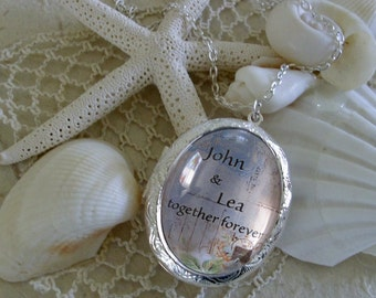 Together Forever locket, personalized lockets... gift box, Ready To Ship, vintage inspired lockets, gifts for Valentine's Day, bridal gifts