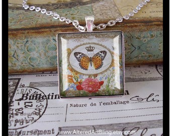 Memories of Paris, # 2 in the series of 12, altered art pendant,Paris,Eiffel tower,french script, illustration jewelry,french inspired