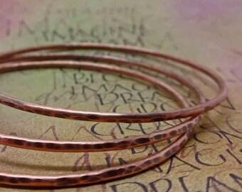 Hammered Copper Bangle Bracelets, Set of 3 Textured Metal Bracelets, Antiqued Copper Jewelry, Metal Smithed Copper Bracelets