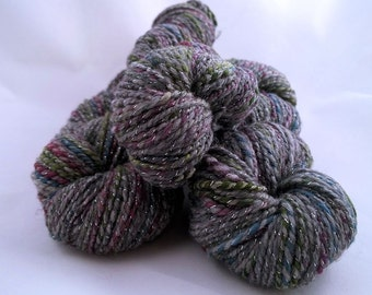 Silver Hours, handspun wool & silk yarn with lots of glitz, 2.9 oz/82 g, 208 yds/190 m