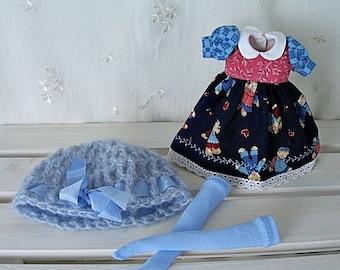 Blythe Doll Dress,  Hat, Stockings, Dress. Dollies.