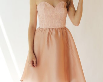 Sample SALE - Short pink silk and lace dress