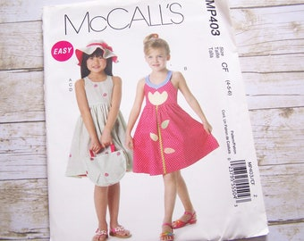 McCalls MP403 girls dress sewing pattern with hat tote bag sundress pattern size 4-5-6- uncut