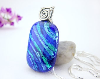 Sterling Silver- Spiral Necklace- Dichroic Glass Jewelry -Dichroic Pendant -Fused Dichroic Glass Jewelry-Glass Jewelry - Necklace