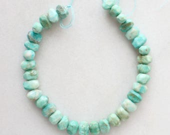 "Faceted Amazonite Nugget Beads - 16"" strand"
