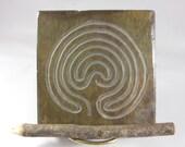 Labyrinth ART TILE, Troy PATHWAY - Coaster - Hand Carved Slate Meditation Stone