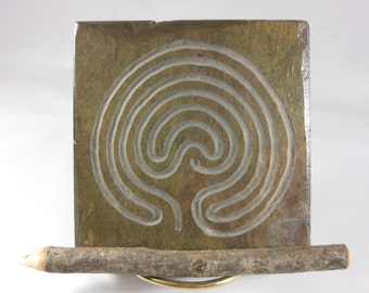 Carved ART TILE - Troy Labyrinth Path - Hand Carved Slate Meditation Stone