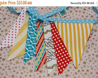 ENTIRE Store On SALE Designer's Choice Carnival Banner, Fabric Pennant Flags, Med. Flags in Red, Yellow, Blue & White Party Decor, Prop.