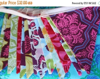 20% OFF Bunting Banner Featuring 13 Medium Flags in Jewel Tones From Joel Dewberry's Heirloom Collection.  Photo Prop, Decoration.