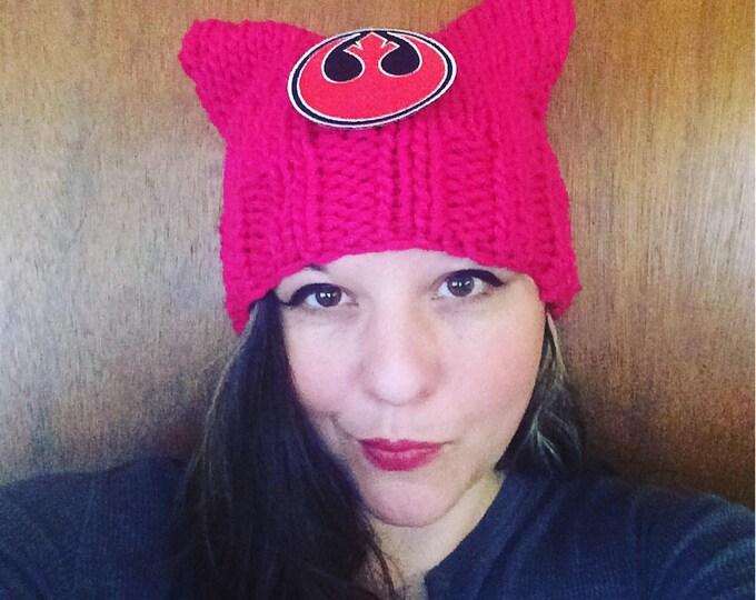 Pussycat hat geek edition Star Wars rebel alliance patch  pussyhat womens march feminist kitty cat knit hat pussy hat kitten