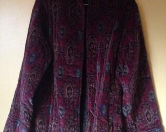 Vtg Oversized Velvet Tapestry Jacket L/XL