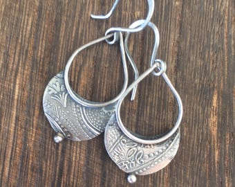 Crescent...... recycled sterling silver handmade earrings with a paisley pattern.