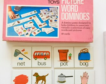 Box set of vintage 70s Galt Toys Picture Word Dominoes 1974 Ages 3+ game retro