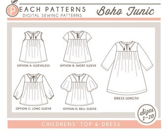 Boho Tunic Top Blouse and Dress INSTANT DOWNLOAD PDF Sewing Pattern Toddlers Children Girls Sizes 1 to 10