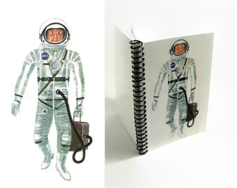NASA Astronaut A6 Notebook, Back to School, Spiral Bound Diary Travel Journal, Blank Sketchbook, Mid Century Modern, Gifts for Boys Under 20