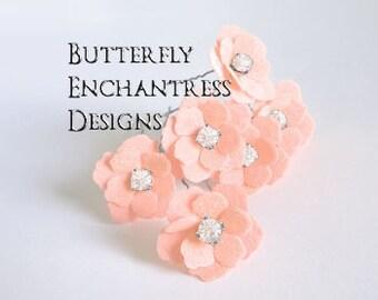 Bridal Hair Flowers, Blush Wedding Hair Accessory, Bride Bridesmaid Favor Gift - 12 Peach Apricot Mini Buttercup Hair Pins - Rhinestone
