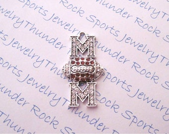 FOOTBALL MOM CHARM, Antique Silver, brown crystals, Pendants, Sports, jewelry. balls