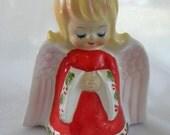 Vintage Lefton Christmas Angel Figurine Napkin Holder in Porcelain 1970s