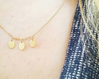 Delicate Gold Amulet Necklace. Gold Chain Amulet Necklace. Petite Minimalist Gold Layering Necklace.
