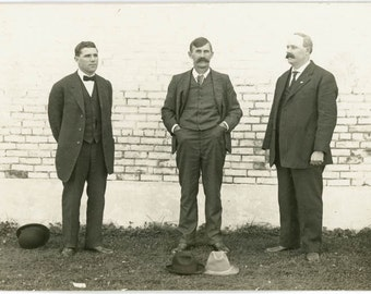 vintage photo 1912 Mystery Men Throw Hat in the Ring Unusual Pose RPPC