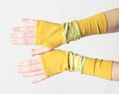 Yellow and green armwarmers, Yellow patchwork gloves, Jersey fingerless gloves, Mustard yellow patchwork wrist warmers, MALAM