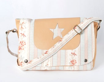 SALE Beige and blue messenger bag, Crossbody bag in printed cotton and leather, Womens bag with star and leather, Gift for her, MALAM