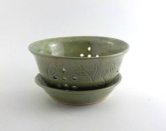 Ceramic Berry Bowl - Stoneware Colander and Drip Plate - Kitchen Essential - Handmade Food Strainer - Carved Leaf Design  Celadon Green s473