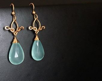 Pamela - Aqua Blue Chalcedony and 14k Gold Filled Earrings