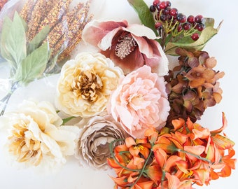 GRAB BAG #18 - Over 45 Small to Large Size Flowers in Mixed Colors - Silk Artificial Flowers