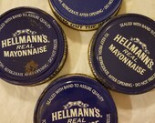 4 vintage Hellmann's mayonnaise regular mouth metal advertising lids mason screw tops best foods blue white canning grocery packer jar cover
