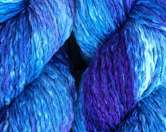 "100% Pima cotton yarn - ice dyed ""Delphinium"" - aran weight - in stock, ready to ship!"