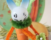 Vintage Style / Pipe Cleaner Easter Bunny Figure / Vintage Craft Supplies / Free-Standing Figure / Spun Cotton / Forget Me Nots