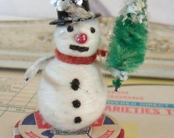 Vintage / Snowman / Spun Cotton Figure / One Item / Christmas Decoration