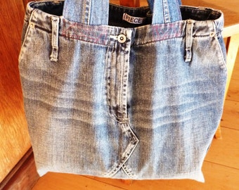 Denim bag made from recycled jeans #001