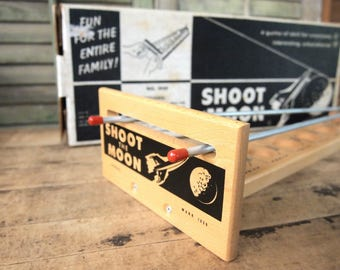 Shoot The Moon Wood/Steel Gravitation Game In original box Never used  1959 by Drueke with metal ball New Old Stock