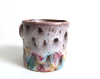 Small Vintage Pottery Planter, Cache Pot Made in Vallauris France, French Ceramic Plant Holder, Pastel Colors Drip Glaze
