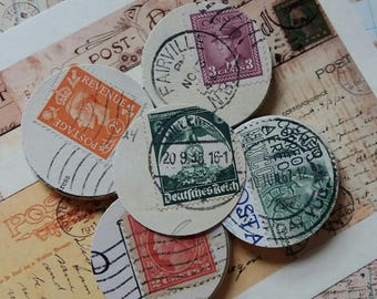 40 Vintage Punched Postcards Circles..Stamps