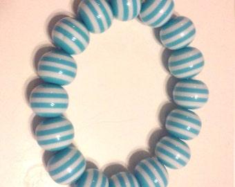 Arm Candy Stretchy Bracelet....Aqua and White Striped