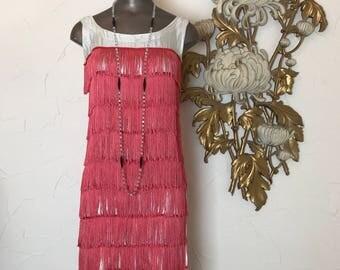 1960s dress flapper dress lurex dress size small vintage dress 1920s costume pink dress tassel dress fringe dress