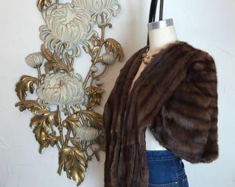 1940s fur cape brown fur stole vintage fur striped fur one size fur stole fur wrap film noir fur jacket