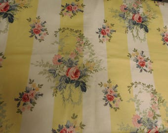 Rare Laura Ashley OOP  Isabelle Rose Fabric Yellow Isabelle Pink Roses BTHY