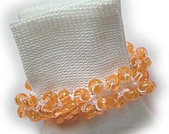 Kathy's Beaded Socks - Orange Sparkle Socks, school socks, pony bead socks, clear pony beads, orange glitter pony beads